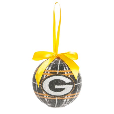 green bay packers light up led sparkle plaid christmas ornament - Green Bay Packers Christmas Ornaments