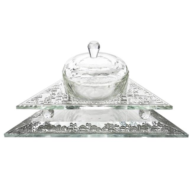 Shonfeld Crystal 15859 3 Piece Crystal Bowl with Cover Triangle - 6.5 x 5.5 x 1.5 in. - image 1 de 1