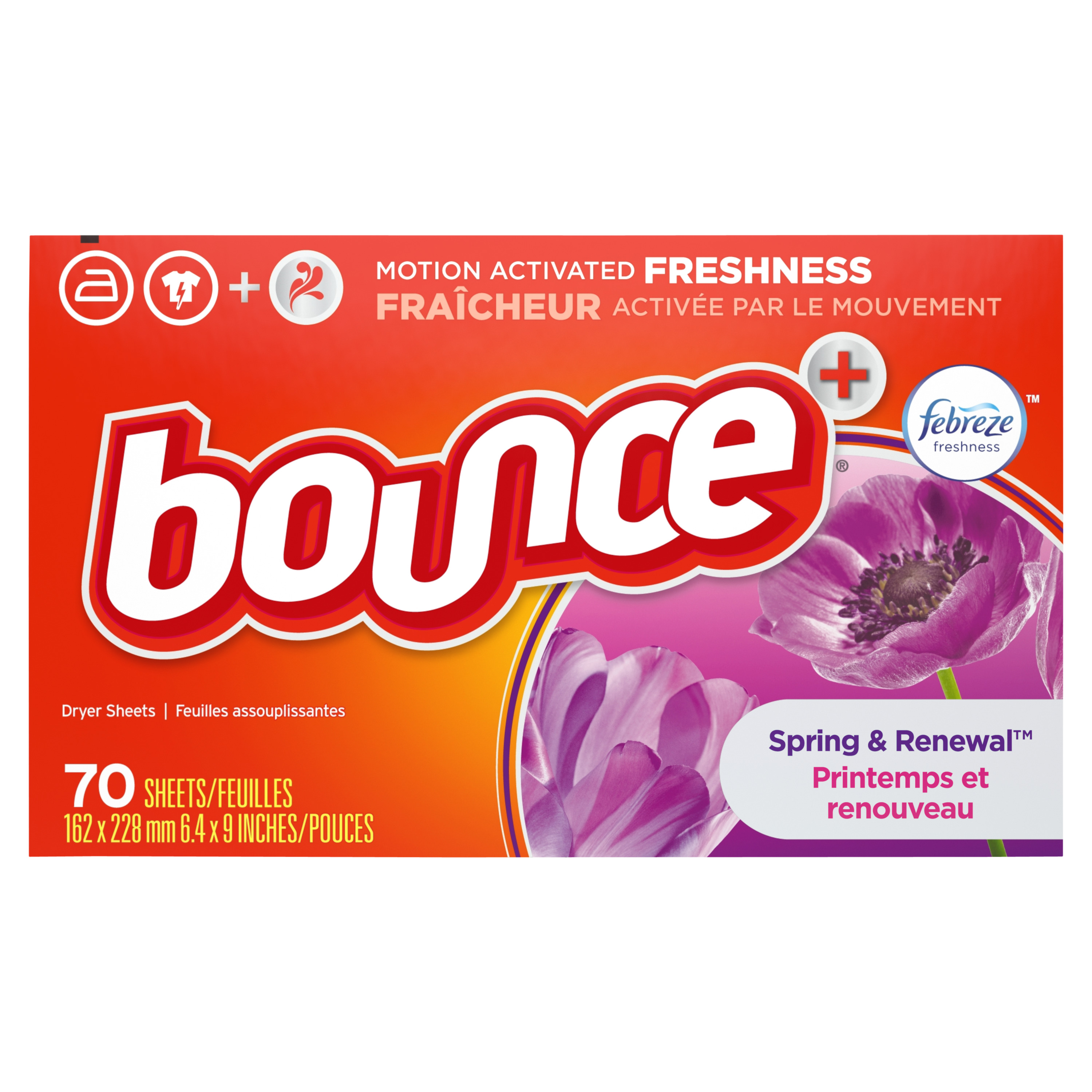 Bounce with Febreze Scent Spring & Renewal Fabric Softener Dryer Sheets, 70 Count