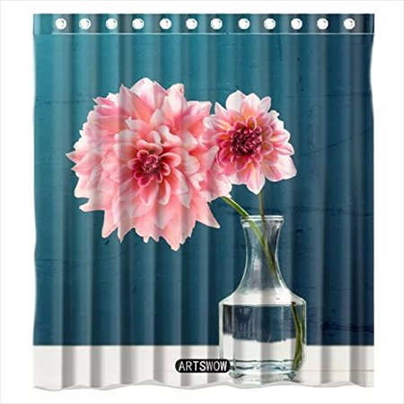 EREHome Pink Flowers in Vase Shower Curtain Polyester Fabric Bathroom Decorative Curtain Size 66x72 Inches - image 1 of 1