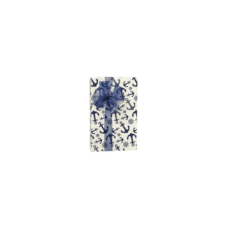 Navy Blue Nautical Anchor Birthday / Special Occasion Gift Wrap Wrapping Paper-16ft