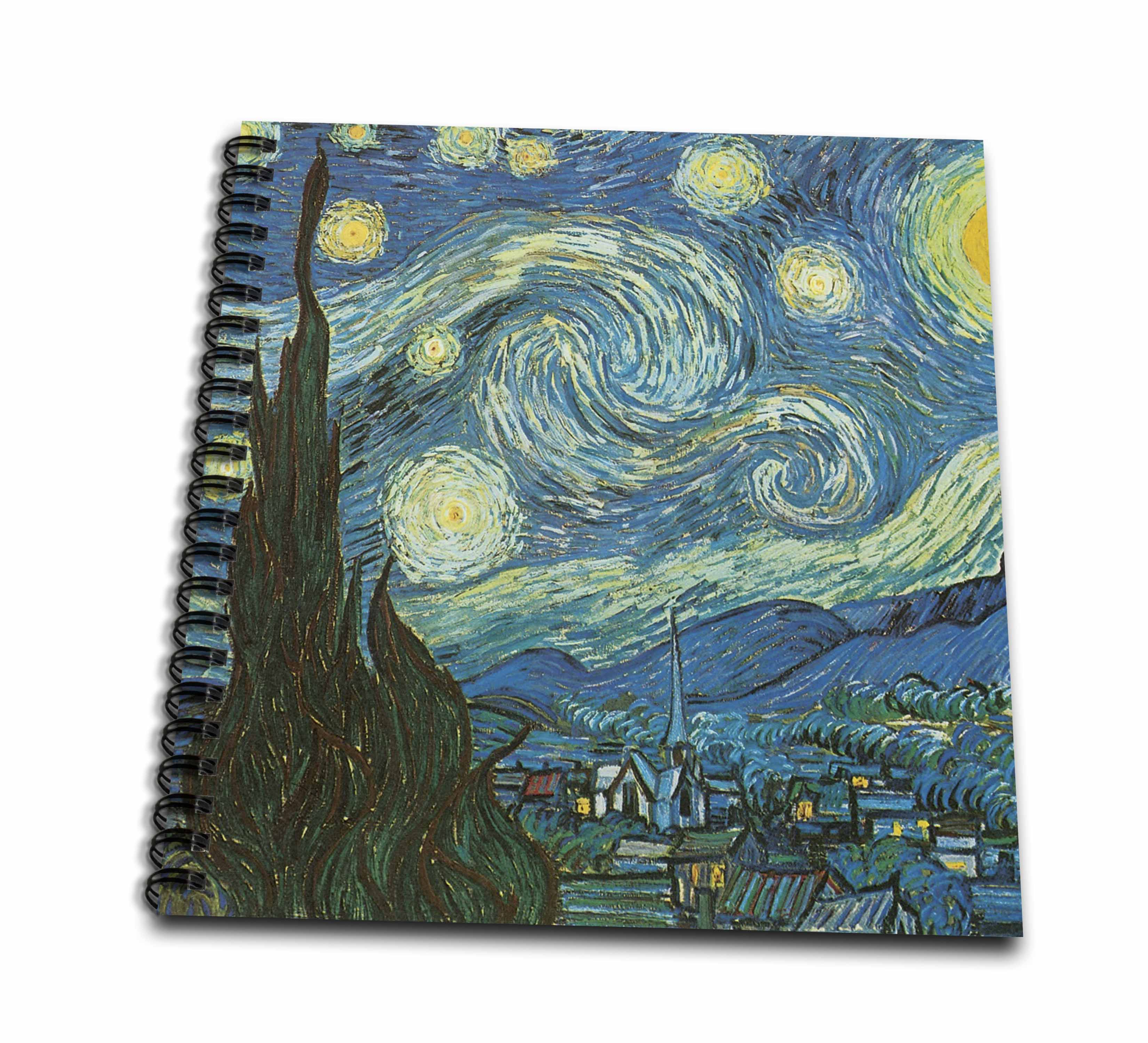 3dRose Starry Night by Van Gogh vintage - Drawing Book, 8 by 8-inch