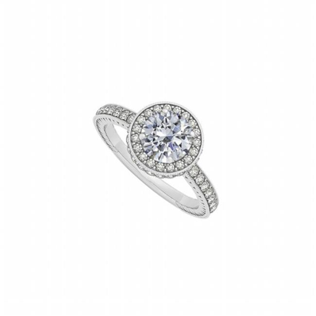Fine Jewelry Vault UBNR50277W14CZ April Birthstone Round CZ Engagement Ring in 14K White Gold