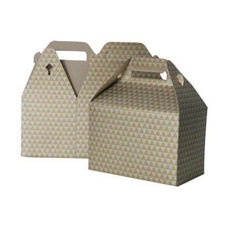 JAM Paper® Gable Gift Box with Handle - Medium - 4 x 8 x 5 1/4 - Gold & Silver Diamond - Sold