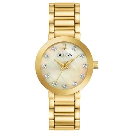 Bulova Women's Diamond-Accent Gold-Tone Stainless Steel Bracelet Watch