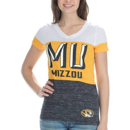 NCAA Missouri Mizzou Women's Short Sleeve V Neck Tee