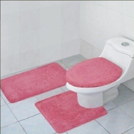 3 Piece Quinn Solid Bathroom Rug Set Bath Mat Contour