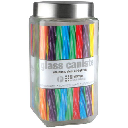 - Home Basics Glass Square Canister with Steel Lid