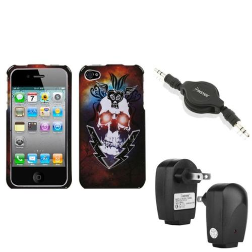 Insten Wall Charger Audio Cable Lightning Skull Phone Case Cover For APPLE iPhone 4S/4