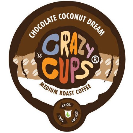 Crazy Cups Chocolate Coconut Dream Flavored Coffee Single Serve Cups, 22 count