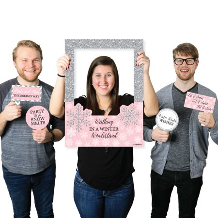 Pink Winter Wonderland - Holiday Snowflake Birthday Party or Baby Shower Photo Booth Picture Frame & Props