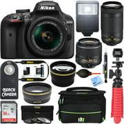 Nikon D3400 24.2MP DSLR Camera w/ AF-P 18-55 VR & 70-300mm Dual Lens Accessory Bundle (Black) - (Manufacturer Refurbished)