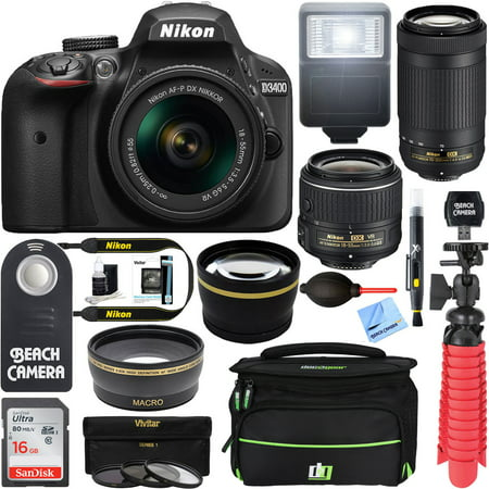 Nikon D3400 24.2MP DSLR Camera w/ AF-P 18-55 VR & 70-300mm Dual Lens Accessory Bundle (Black) - (Manufacturer