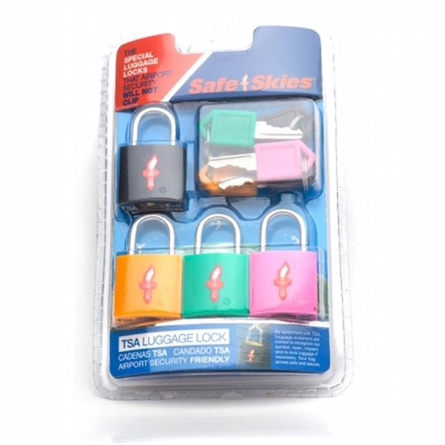 Safe Skies No.  210 TSA-Approved padlocks four-pack - Assorted