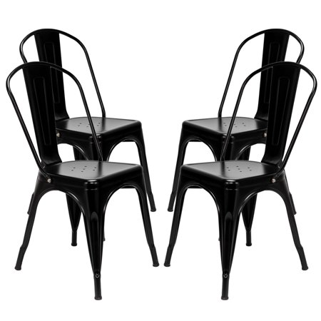 Zimtown Set of 4 Dining Chairs Industrial Metal Stackable Cafe Side Chair