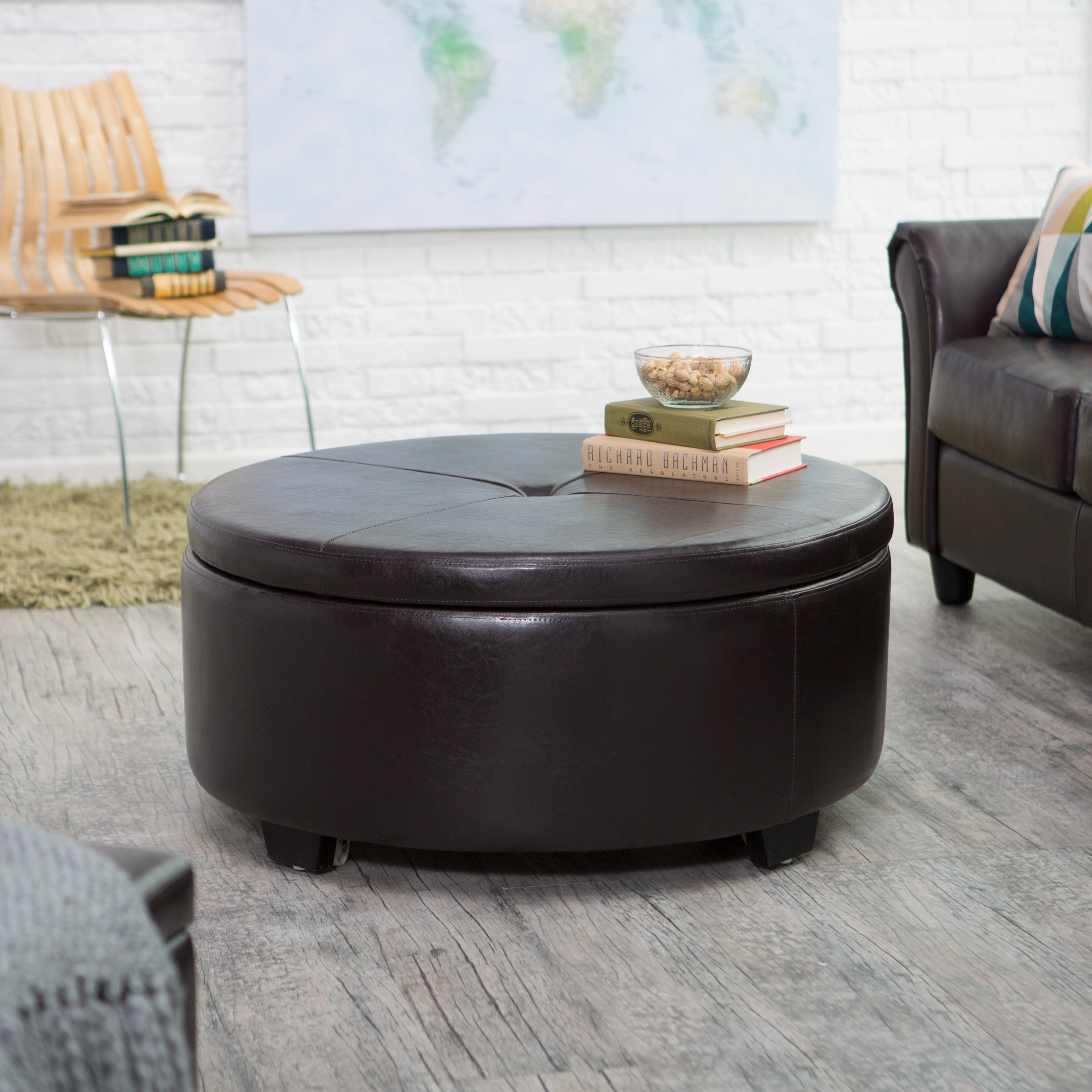 belham living corbett round coffee table storage ottoman - walmart