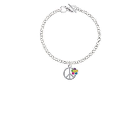 Large Multicolored Daisy on Peace Sign & Beyond Infinity Toggle Chain Bracelet](Halloween Infinity Sign)