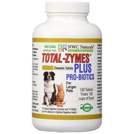 Foods Natural Enzymes - NWC Naturals Total-Zymes Plus - 100 Tablets (1 tablet treats 1 cup of pet food) Enzymes and Probiotics for larger Dogs and Cats
