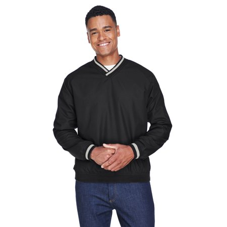 UltraClub Adult Long-Sleeve Microfiber Crossover V-Neck Wind Shirt - 8926