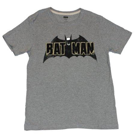Batman (DC Comics) Mens T-Shirt - 60s Style Embrodried Patch Image (Medium, (Mens 60s Style)
