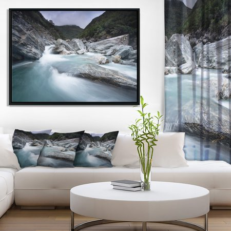 DESIGN ART Designart 'Slow Motion Mountain River in Blue' Large Seashore Framed Canvas