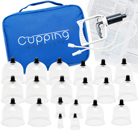 Cupping Warehouse 20 Cup Chinese Polycarbonate Professional Cupping Therapy Set with Pump Gun and Extension Tube and Silicone Top (Massage Therapy Shirts)