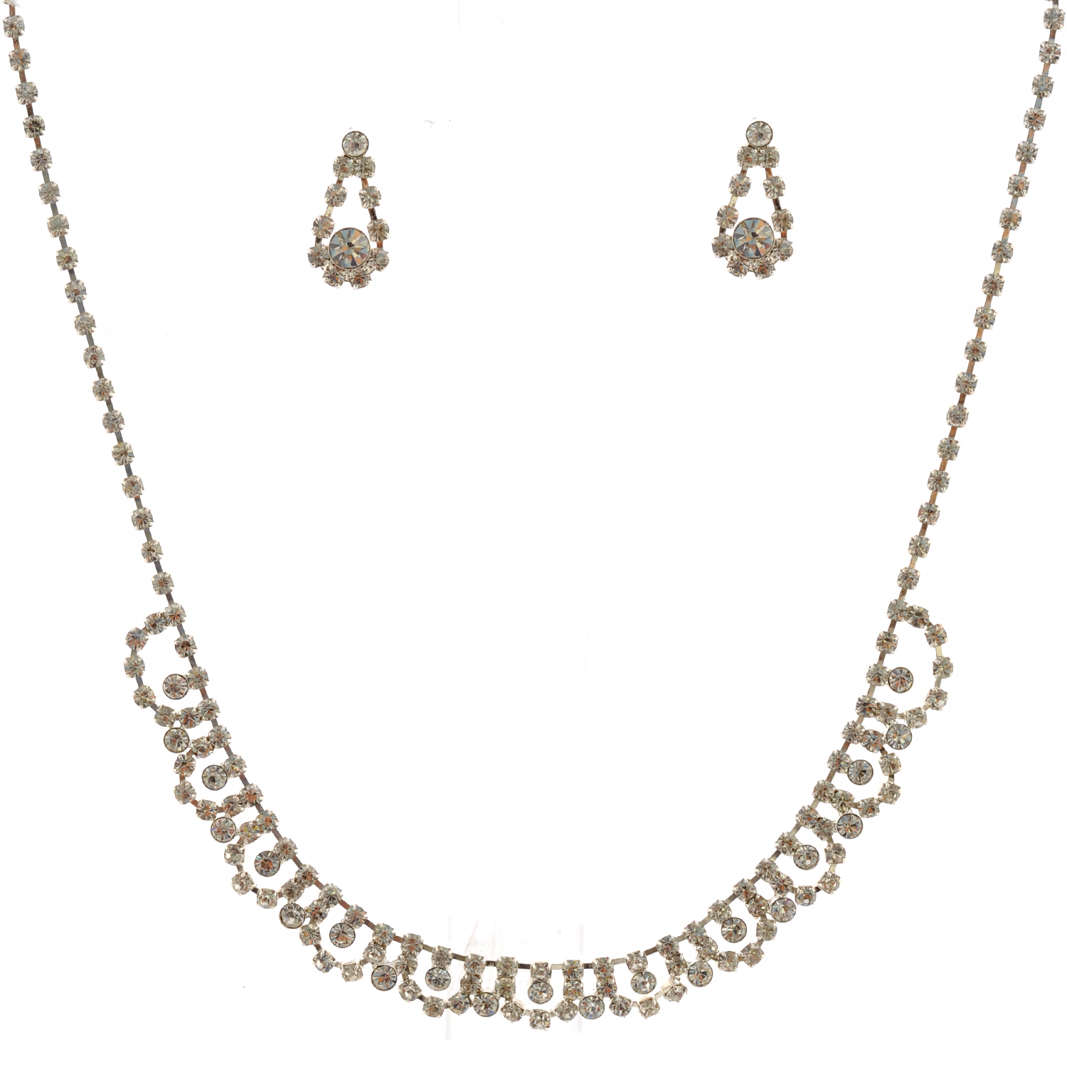 bridal jewelry set silver curve necklace dangle