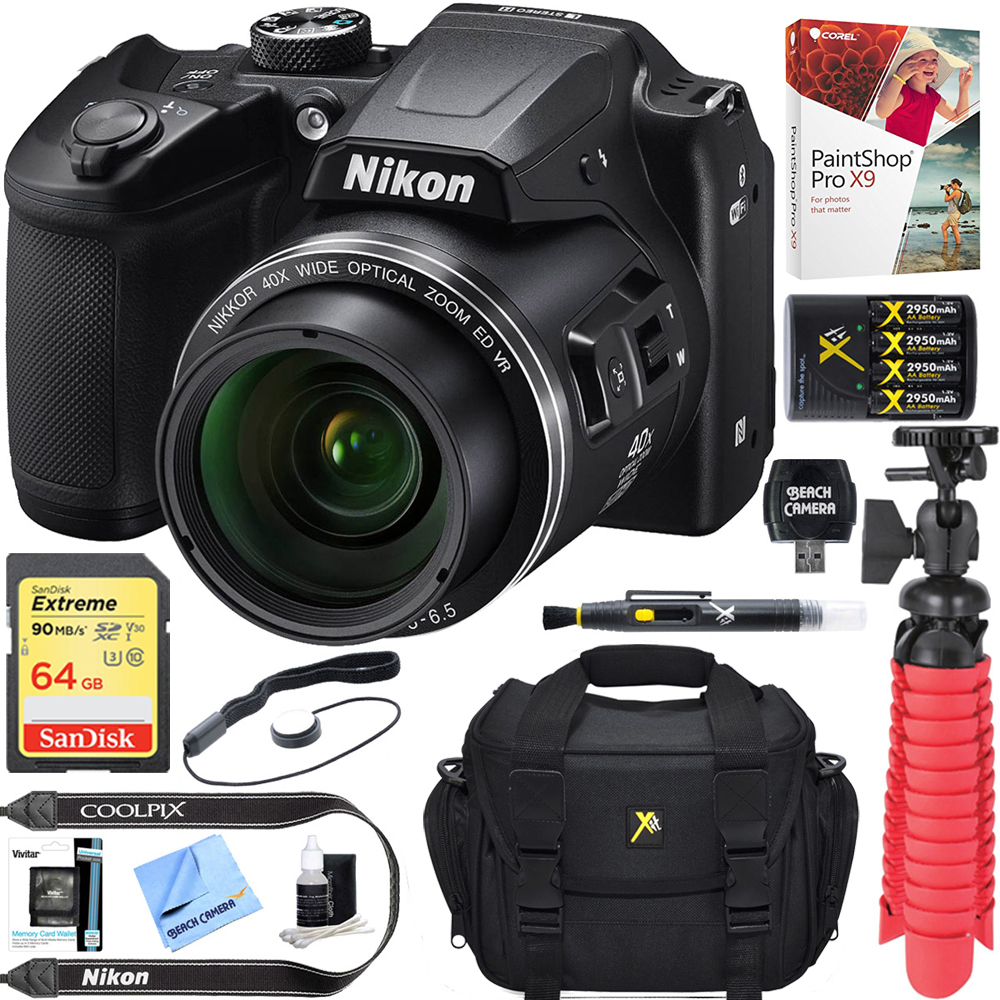Nikon COOLPIX B500 16MP 40x Optical Zoom Digital Camera w/ Built-in Wi-Fi NFC & Bluetooth (Black) + 64GB SDXC Accessory Bundle