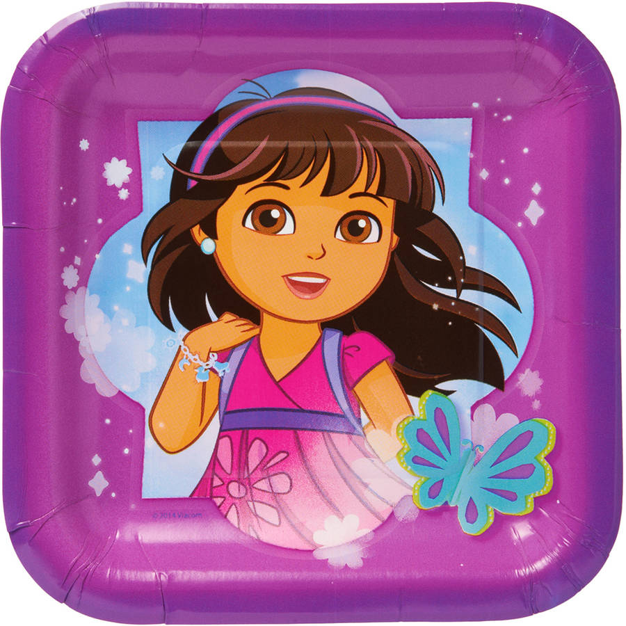 "Dora & Friends 7"" Square Plate, 8 Count, Party Supplies"