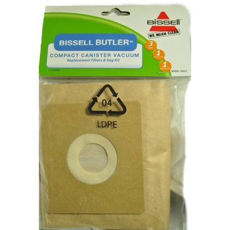 Bissell Butler Compact Canister Vacuum Cleaner Bags, Fits: Model 3580, Bissell Item Number 32023, 3 bags, 1 pre-motor filter, 1 post-motor filter in pack by Bissell