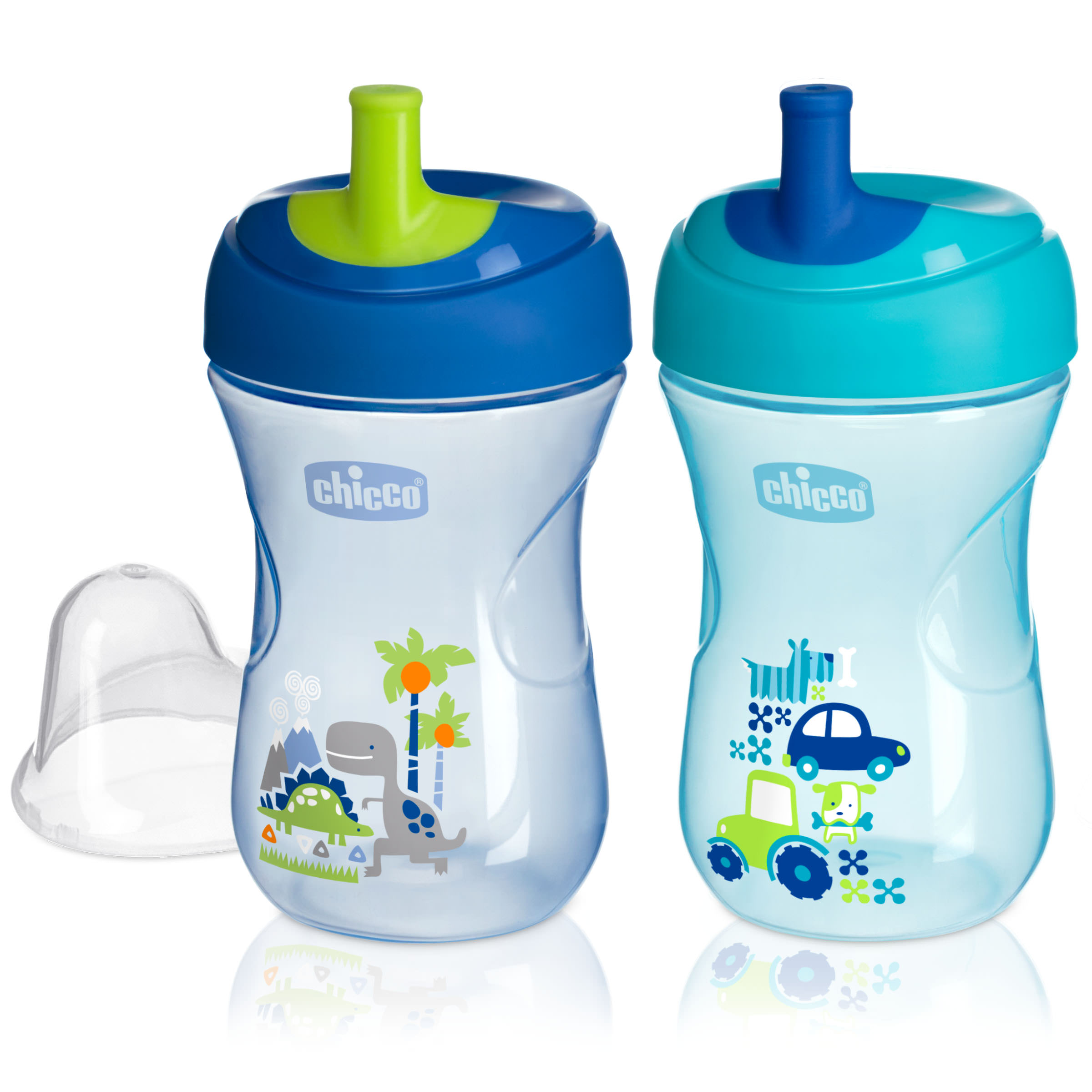 Chicco First Straw Trainer No Spill Sippy Cup 9M+, 9oz Blue Teal 2-Pack by Chicco