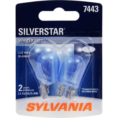 Sylvania 7443 SilverStar Miniature Bulb, Contains 2 Bulbs