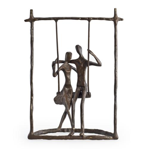 Danya B. Couple on a Swing Bronze Sculpture by Overstock