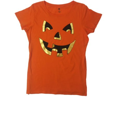 Womens Orange Jack 'O Lantern Happy Halloween Tee Pumpkin Face T-Shirt