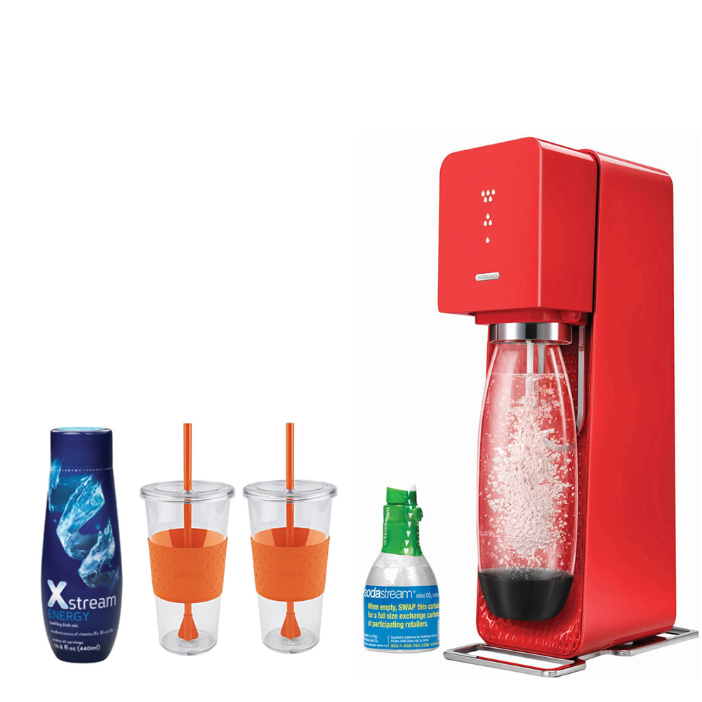 SodaStream Source Home Soda Maker Starter Kit, Red with 2 x  Eco First Tumbler 24 Ounce Togo Cup Mug, Xstream - Energy Drink