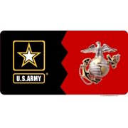Army / Marines House Divided Photo License Plate