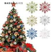 BadPiggies 24Pcs Plastic Shinny Glitter Christmas Snowflake Ornaments Christmas Tree Decorations Set For Craft DIY Party Home Holiday Decoration, 3.9 inch, Gold