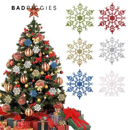BadPiggies 24Pcs Plastic Shinny Glitter Christmas Snowflake Ornaments Christmas Tree Decorations Set For Craft DIY Party Home Holiday Decoration, 3.9 inch, Gold ()