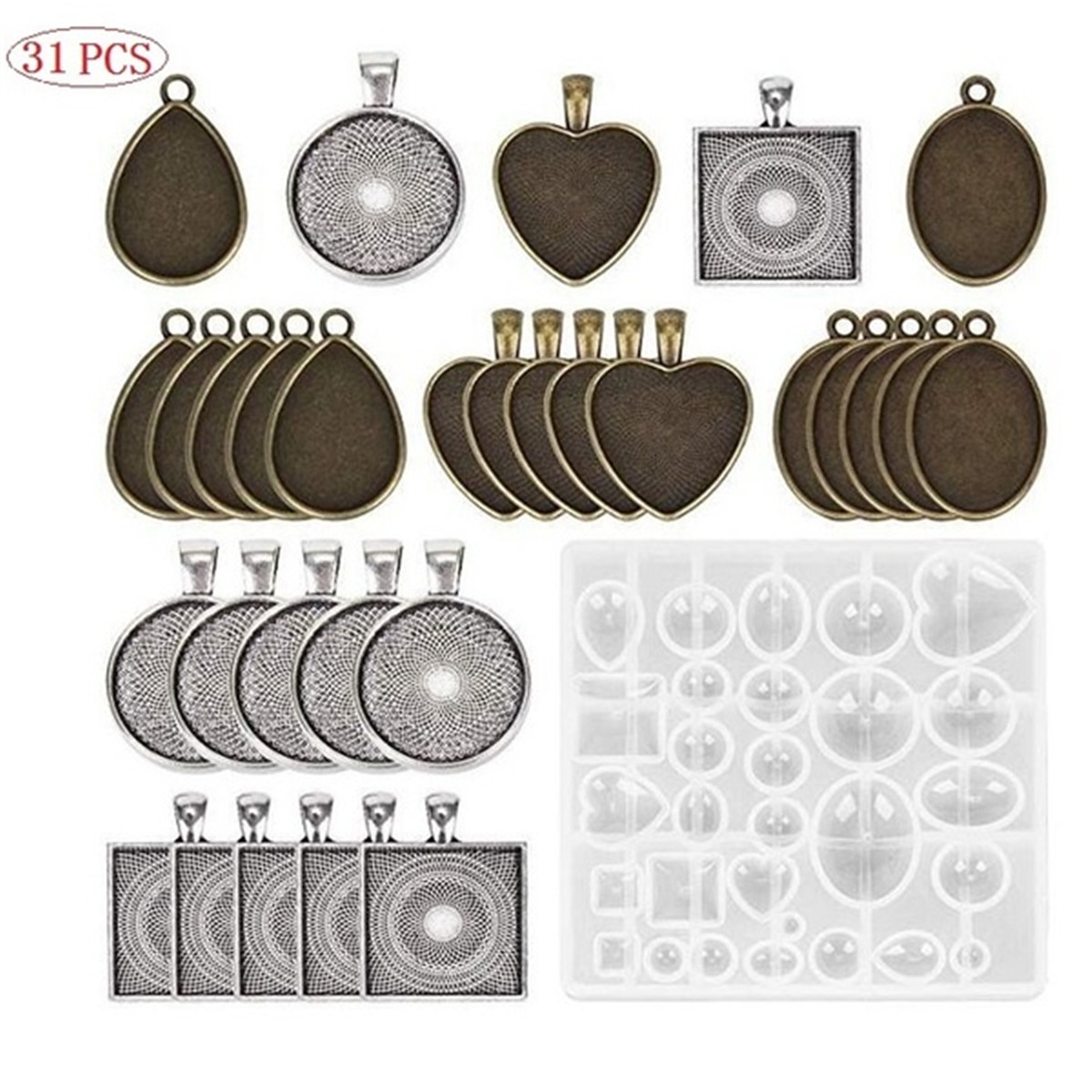 DIY Craft Resin Casting Molds Kit Silicone Mold Making Jewelry Pendant Mould