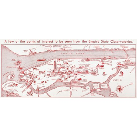 Stretched Canvas Art - Map: Manhattan, C1935./N\'A Few Of The Points ...