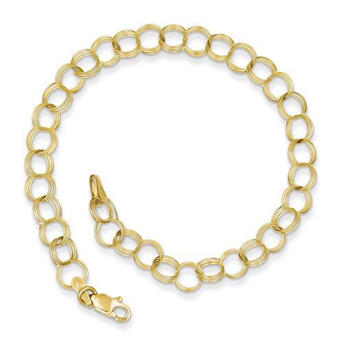 10k Yellow Gold 7in Triple Link Charm Bracelet