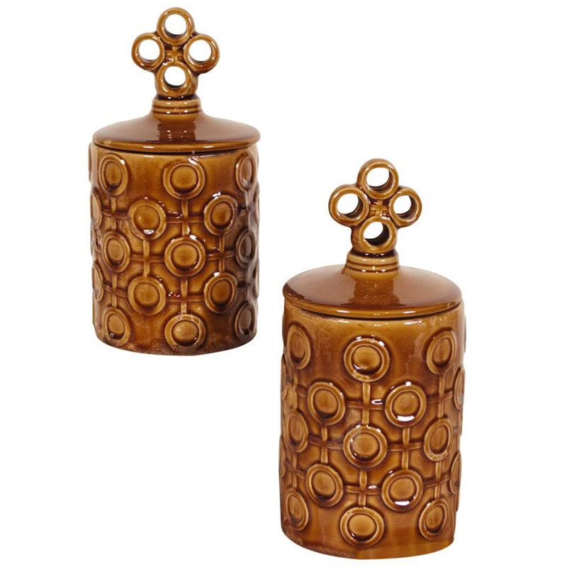 Allan Andrews Mocha Brown Textured Ceramic Jars with Lids (Set of 2)