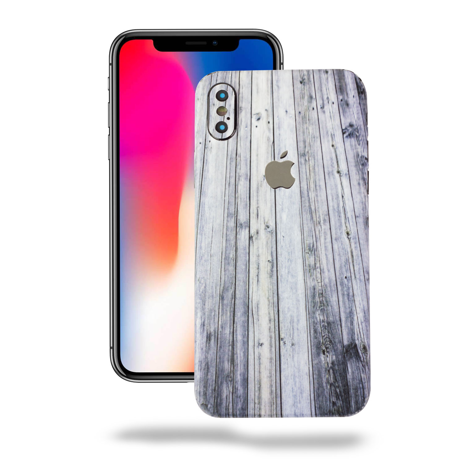 TortugaAmor Apple iPhone X Vinyl Skin, Black Leather Texture Protective Vinyl Skin Cover Wrap Sticker Skins 2Pack [ 1 Back & 4 Camera ]