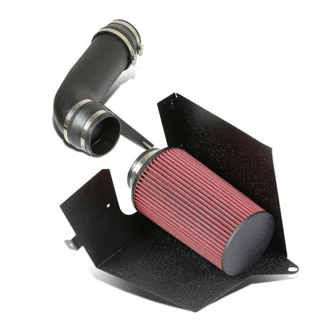 For 96-00 Chevy/GMC C/K-Series GMT400 5.0/5.7 Black Cold Air Intake Pipe+Heat Shield+Red Filter 97 98