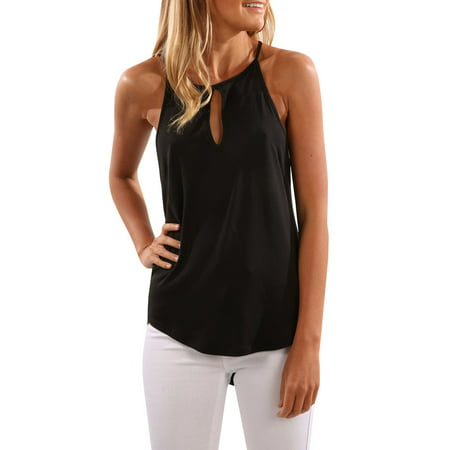 Studded Womens Tank Top - Sleeveless Women Solid Color Tank Vest Casual Shirt