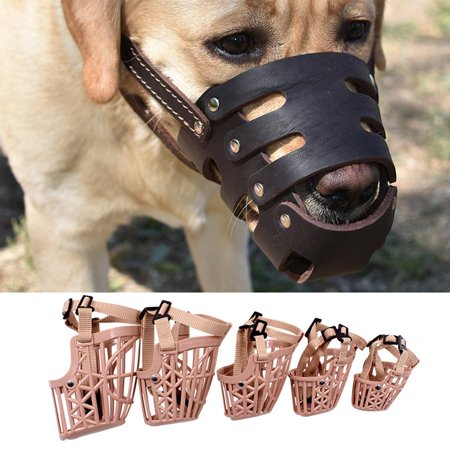 Basket Dog Muzzle Adjustable Leather Strap Pet Dog Grooming No Bark Bite Soft Plastic Dog Mouth Cover - image 5 de 7