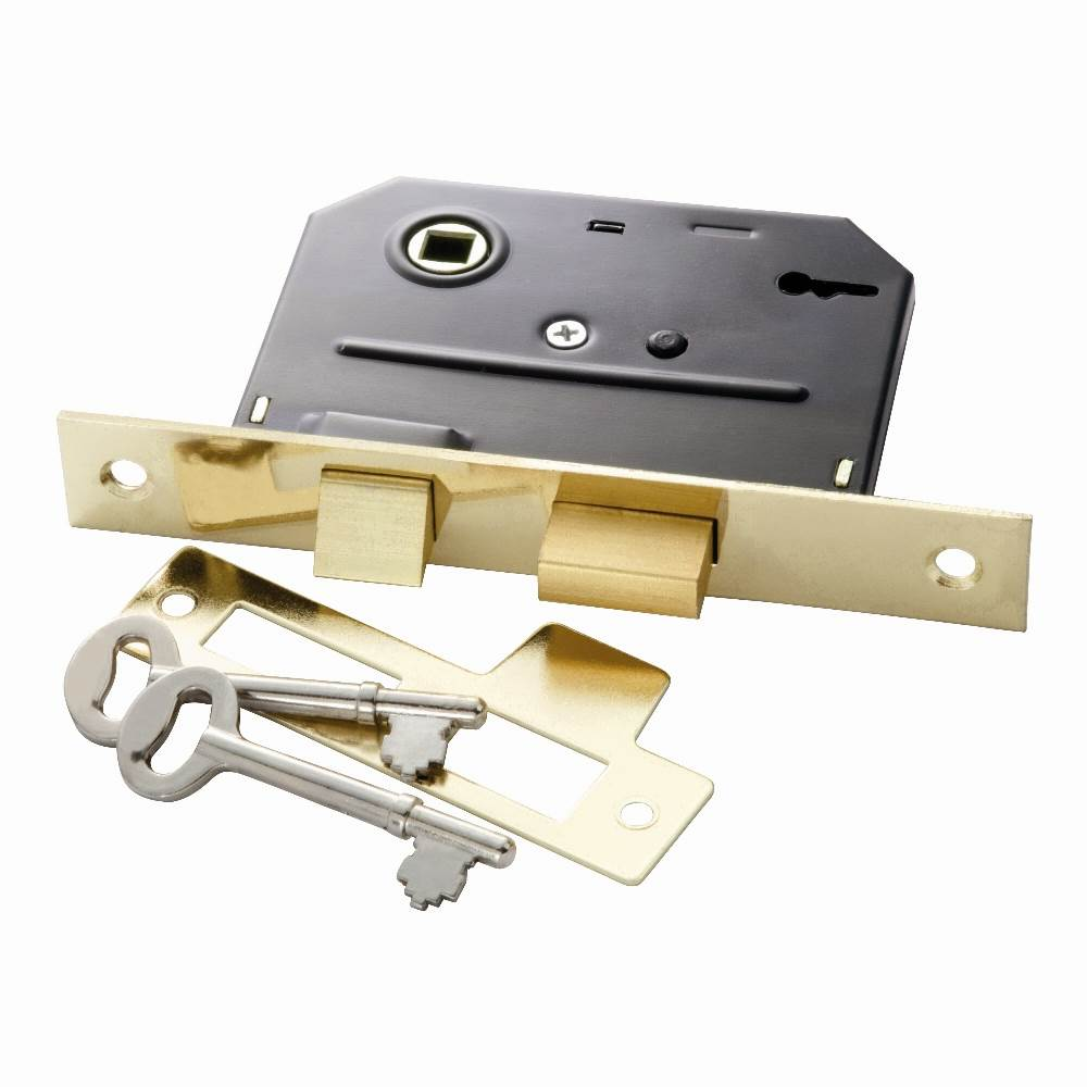 Bit Key Mortise Lock in Polished Brass (Set of 10)
