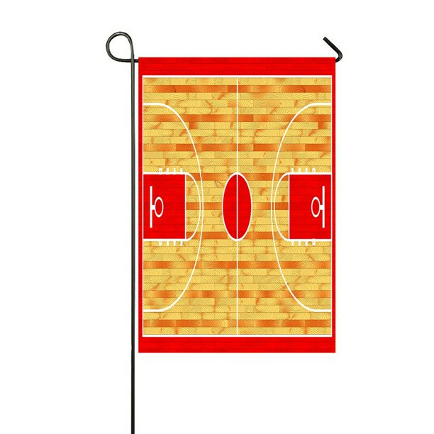 Eczjnt Hardwood Textured Basketball Court Outdoor Flag Home Party Garden Decor 12x18 Inch Walmart Com Walmart Com