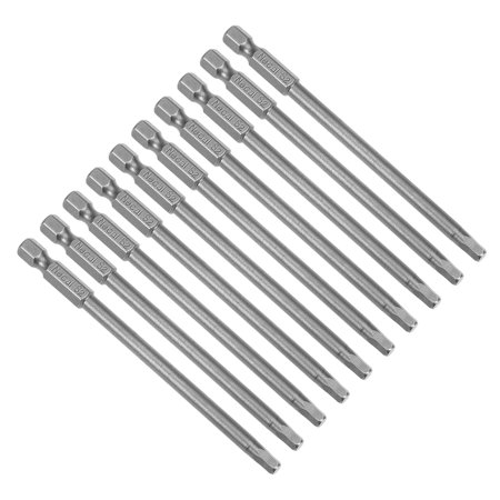 "10Pcs 1/4"" Hex Shank 100mm Length Magnetic Hex Head H4 Screwdriver Bits S2 Alloy Steel - image 4 de 4"