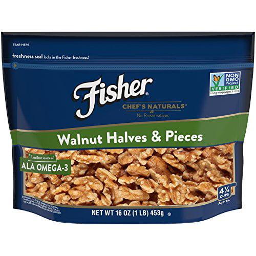 Fisher Chef's Naturals Walnut Halves & Pieces, No Preservatives, NON-GMO, Source of ALA Omega 3, Heart Healthy, 16 oz